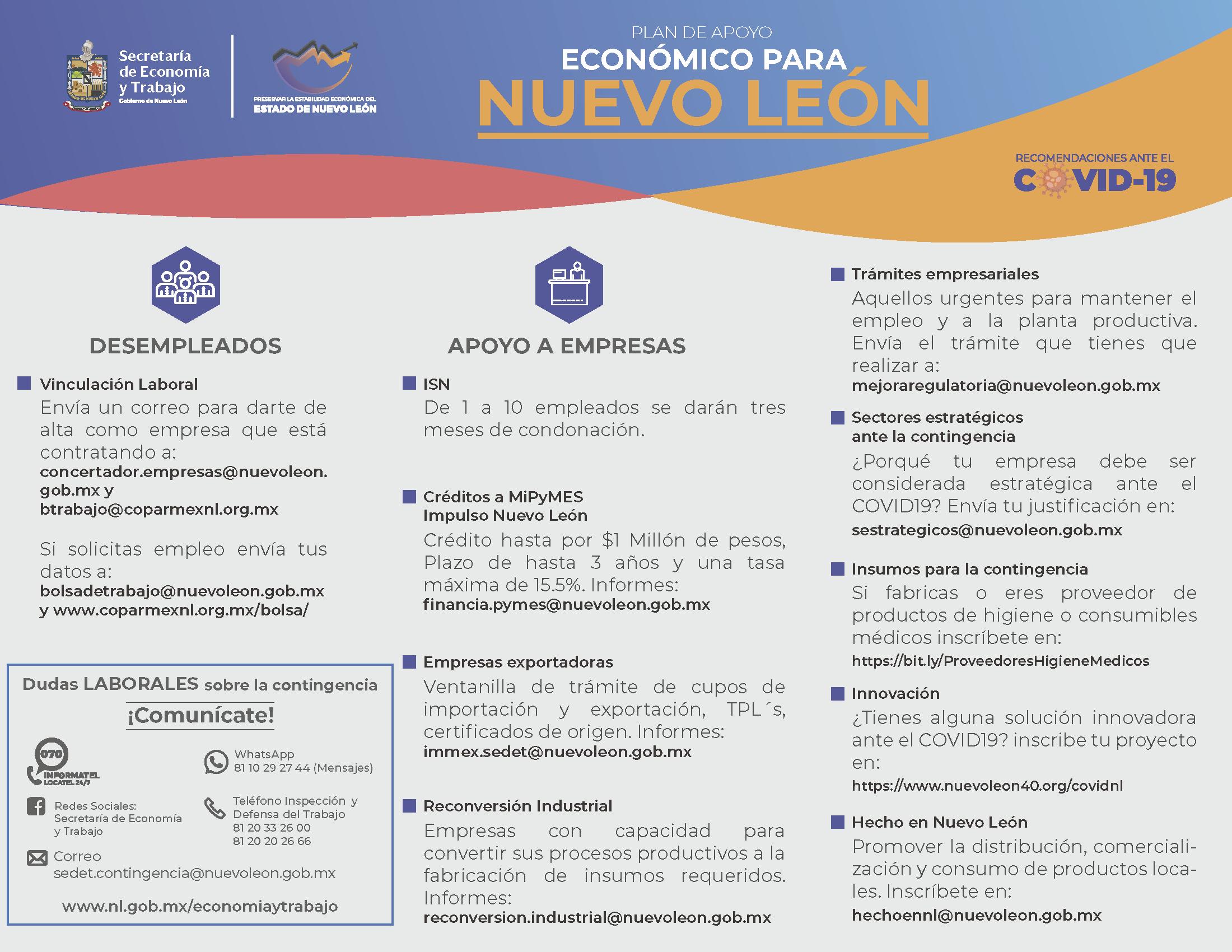 Plan de apoyo Económico para Nuevo León.